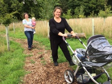 Hannah and Marina take a buggy walk with Sue and Ben.